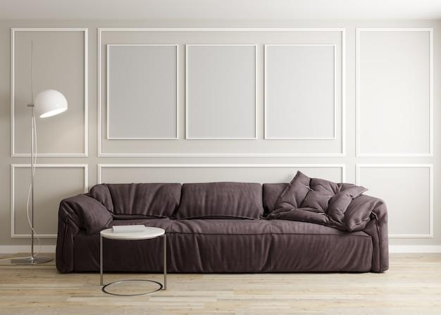 Стильный интерьер светлой гостиной с диваном, торшером и журнальным столиком с отделкой. интерьер гостиной макет. три пустые рамки. 3d визуализация