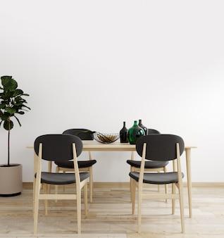 장식 테이블과 의자 테이블과 밝은 거실의 세련된 인테리어. 거실 인테리어 모형. 밝은 일광을 가진 현대적인 디자인 룸. 3d 렌더링