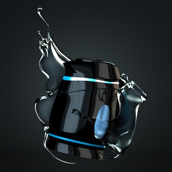 Stylish isolated plastic electric kettle on a black background. 3d rendering.