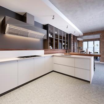 새 집에 현대적인 캐비닛이 있는 세련된 주방 인테리어입니다. 스칸디나비아 스타일의 디자인. 음식을 만들다. 나무 조리대, 싱크대 및 스토브. 3d 렌더링