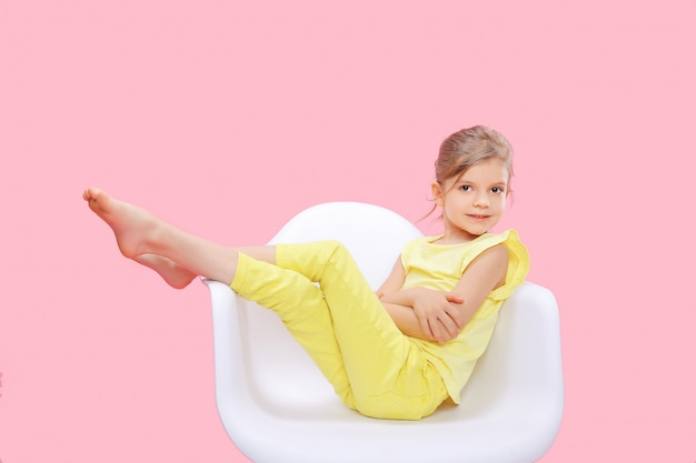 Stylish little girl in yellow n pink