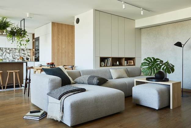 Stylish living room interior design with grey sofa and accessories dining space on the background