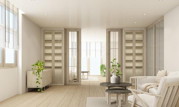 편안한 소파, 나무 바닥 및 쇼케이스 캐비닛이있는 세련된 거실 인테리어