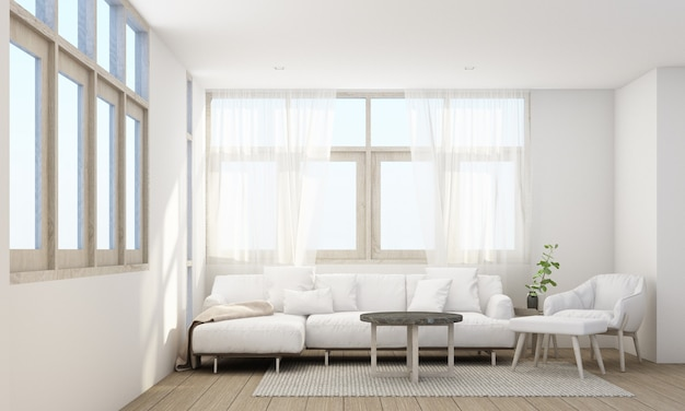 Stylish living room interior with comfortable sofa, wooden floor and sheer curtain