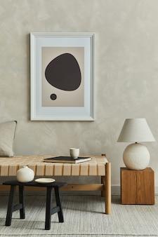 Стильный интерьер гостиной с шаблоном макета постера, шезлонга и аксессуаров
