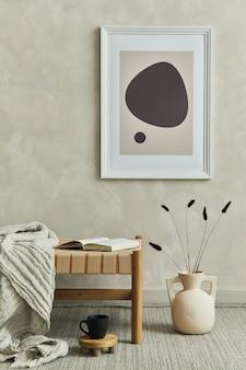 Стильный интерьер гостиной с макетом постера в рамке шезлонг и аксессуарами шаблон