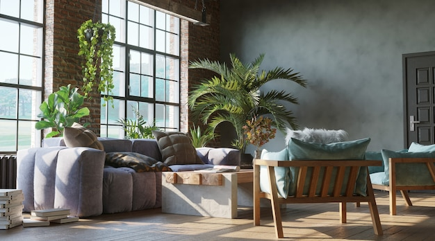 Stylish living room with brick wall loft industrial style 3d render