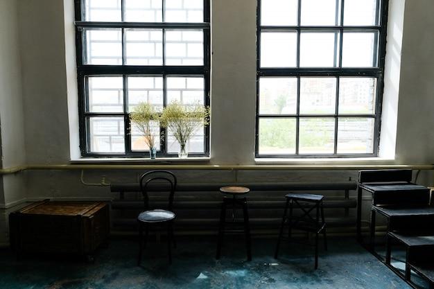 Stylish loft interior of the studio.