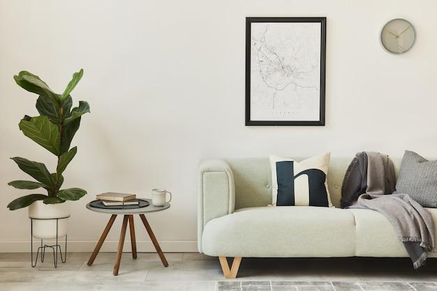 Стильный интерьер в стиле лофт с зеленым диваном, дизайнерским пуфом, макетом карты плаката, мебелью, ковром, растениями, украшениями и элегантными аксессуарами. современный домашний декор. шаблон.