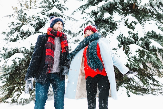 Стильная любящая пара в зимних лесах