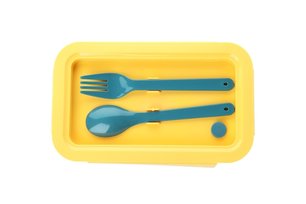 Stylish lunch box isolated on white background