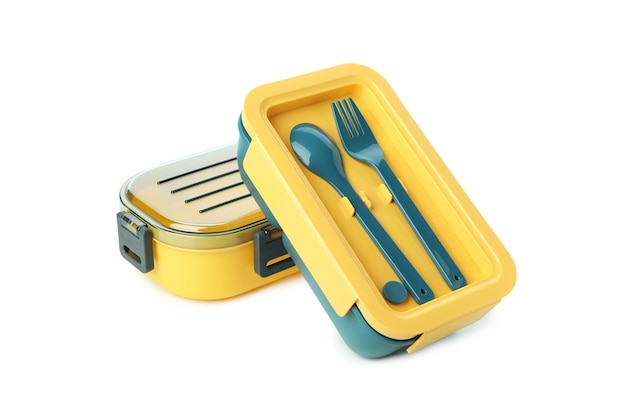 Stylish lunch boxes isolated on white background