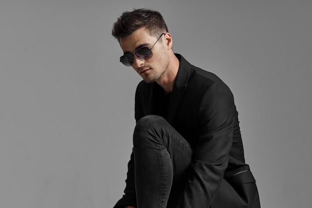 Stylish man model fashion portrait
