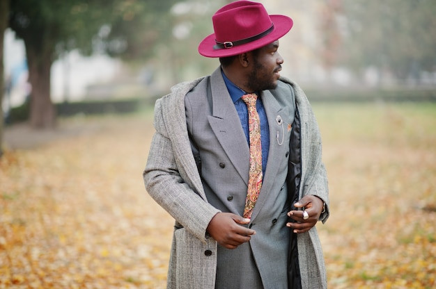 Stylish man model in gray coat, jacket tie and red hat posed at foggy weather street at autumn