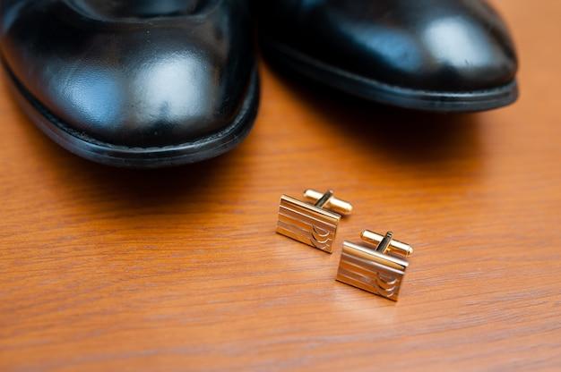 Stylish men's cufflinks are rectangular in shape.