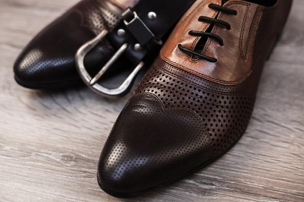 Stylish men's shoes and belt
