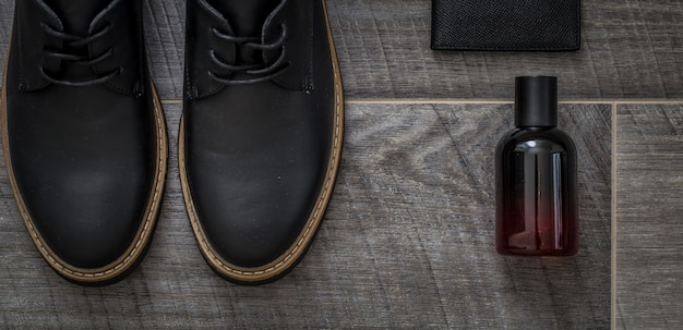 Stylish men's shoes, still life of men's accessories