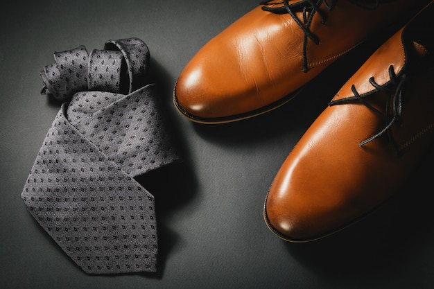 Stylish mens accessories tie with shoes