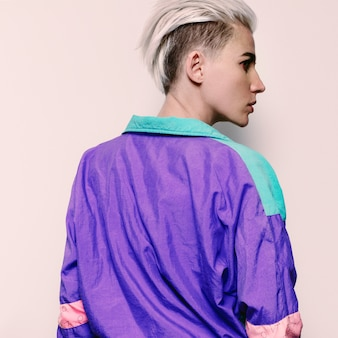 Stylish model hairstyle trend vintage style rave