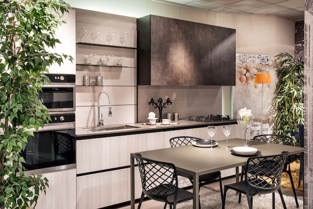 スタイリッシュでモダンな設備の整ったキッチンとダイニングエリア