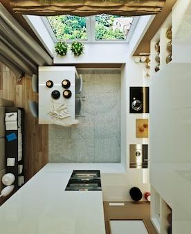 Стильный современный интерьер квартиры с прекрасным видом