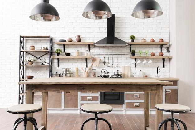Stylish modern kitchen area with island