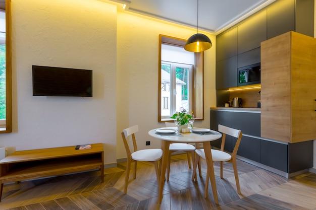 파스텔 색상의 세련된 현대 주방