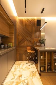 Стильный современный интерьер кухни, детали, студия. высокий барный стул, дизайнерское панно из шпона на стене. концепция минимализм, модный интерьер, натуральные материалы, дерево, мрамор, металл. вертикальный.