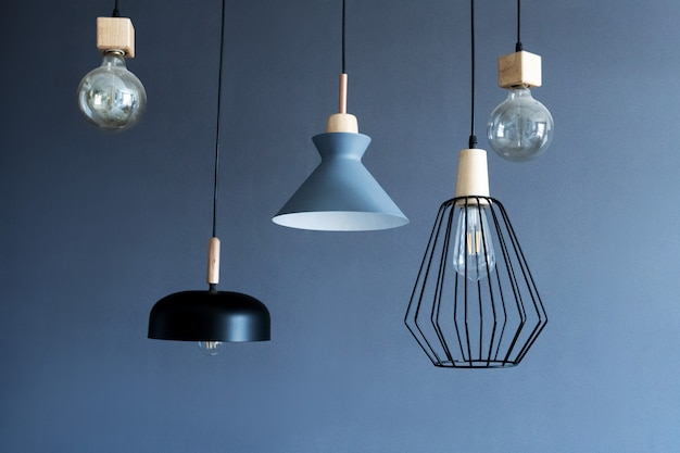 Stylish modern lamps hanging from the ceiling