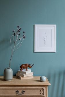 Стильный современный дизайн интерьера гостиной с макетом рамки плаката и шаблоном аксессуаров