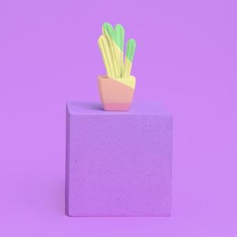 기하학 공간에 세련되게 그려진 선인장. 패션 홈 데코 컨셉 아트