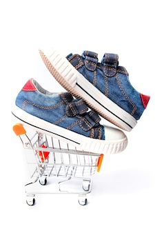 흰색 배경에 신발 세련된 플라이 바구니 가게
