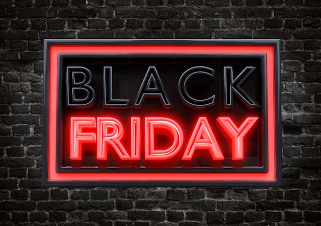 Stylish promotional stamp with luminous neon text of black friday isolated