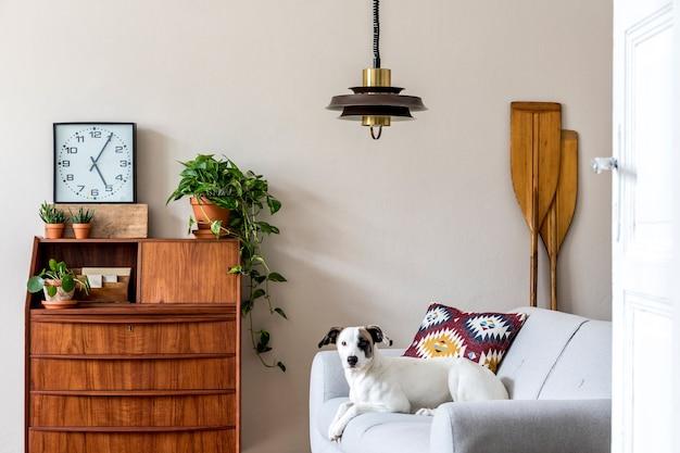 ヴィンテージの木製キャビネット、植物、時計、櫂、ペンダントランプ、エレガントなアクセサリーを備えたリビングルームのインテリアのスタイリッシュなレトロな構成。ソファに横になっている美しい犬。レトロな家の装飾。