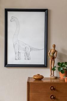 Стильная ретро-гостиная с макетом постерной мебели и элегантными аксессуарами Premium Фотографии