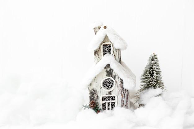 눈 집 세련 된 소박한 크리스마스 배경