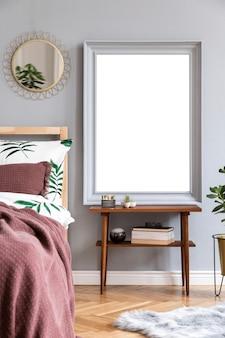 Стильный дизайн интерьера спальни scandi с макетом рамки плаката и шаблоном аксессуаров для дома