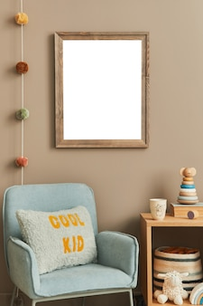 Stylish scandi child room with wooden photo frame armchair wooden and plush toys boxes blocks and wall accessories home decor