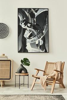 木製のcommode、デザインのアームチェア、カーペット、花瓶の葉、ユニークな家の装飾のパーソナルアクセサリーを備えたモダンなアパートメントのスタイリッシュなスカンジナビアのリビングルームのインテリア。レンプレート。