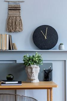 Стильный скандинавский интерьер гостиной с деревянным столом современный шаблон домашнего декора