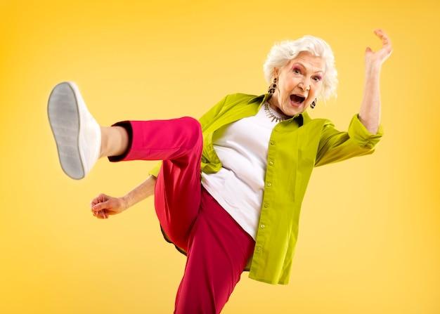 Stylish senior woman posing