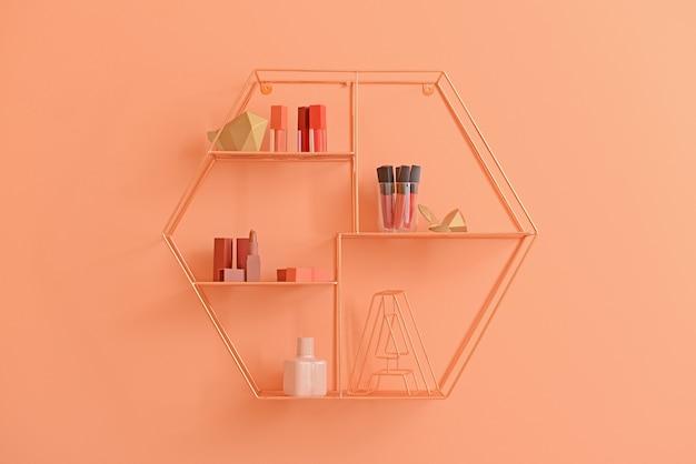 Stylish shelf with makeup cosmetics on orange