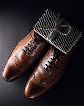 Stylish shoes and gift box