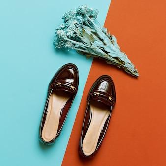 Stylish shoes lady. burgundy fashion autumn season