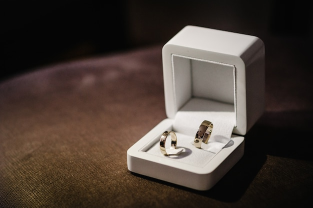 Stylish silver, gold ring in a gift box are isolated on standing on brown background. wedding accessory bride. marriage proposal.