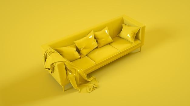 Стильный диван, изолированные на желтом фоне. 3d иллюстрации.