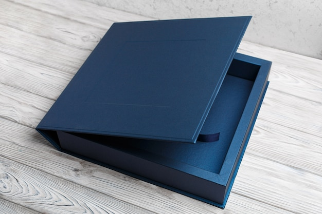 Stylish square cardboard box for a photo album.