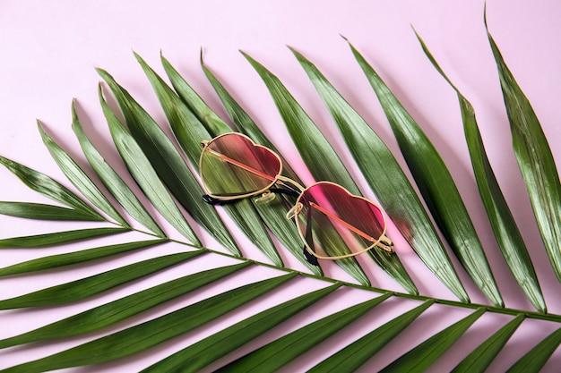 色の背景に熱帯の葉とスタイリッシュなサングラス