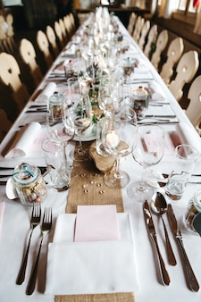 Stylish table decor in a restaurant for celebrations