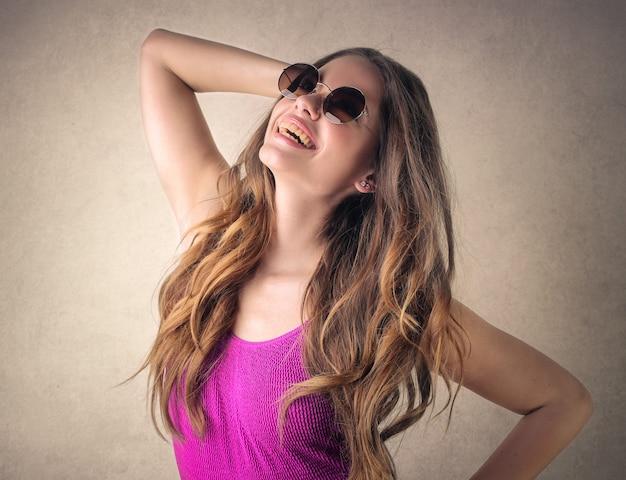 Stylish teen girl posing